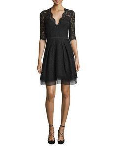Carolina Herrera Half-Sleeve V-Neck Lace Cocktail Dress, Black Cocktail Dresses Uk, Black Lace Cocktail Dress, Cocktail Dresses With Sleeves, Designer Cocktail Dress, Dress Black, Lace Midi Dress, Dress Up, Knit Dress, Black Tie Wedding