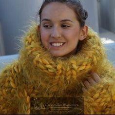 """ Creapulka thick and warm yellow sweater. Fluffy Sweater, Mohair Sweater, Wool Cardigan, Thick Sweaters, Wool Sweaters, Chunky Knitwear, Big Knits, Yellow Sweater, Cut Shirts"