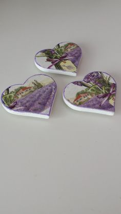 Set of 3 Handmade Heart Shaped Decoupage por WorldOfHandcraft, £5.00