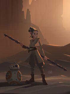 spassundspiele:  Rey – Star Wars: The Force Awakens fan art by Qarlos Quintero