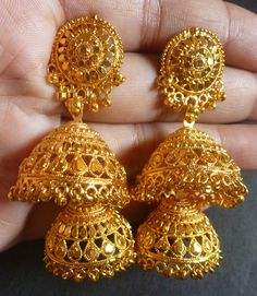 South Indian Gold Plated Wedding Variations Different Jhumka Earrings Set Gold Jhumka Earrings, Indian Jewelry Earrings, Gold Bridal Earrings, Jewelry Design Earrings, Gold Earrings Designs, Gold Jewellery Design, Bridal Jewelry Sets, Jewelery, Jhumka Designs