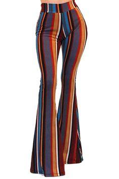 Vivicastle Womens Boho Solid Hippie Wide Leg Flared Bell Bottom Pants Multi Large) - Hippie Dresses - Ideas of Hippie Dresses 70s Outfits, Hippie Outfits, Fashion Outfits, Sexy Outfits, Hippie Dresses, Style Année 70, Looks Style, 1970s Style, Bell Bottom Pants
