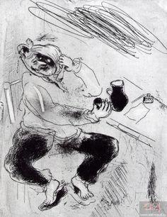 «Мертвые души». Глава 10. Чичиков с флюсом. Художник М. Шагал. 1923–1925