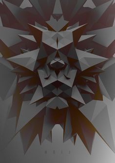 3d design cinema 4d paper polygons low poly geometry geometric black white monotone sharp point lighting shadow lion poster