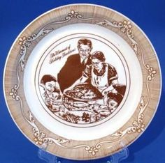 Norman Rockwell Brown Transfer Ware Pie Plate Freedom