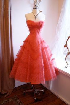 Xtabay Vintage Clothing Boutique - 1950s coral prom dress
