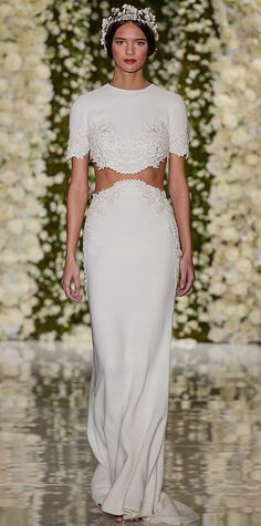 Pretty Short Sleeve Wedding Dress from the fashion shows. Lace detail is at the hems of this lovely haute couture wedding gown. Our US dress design firm can recreate this look for you at an affordable cost. We specialize in inexpensive replicas and cust Fit And Flare Wedding Dress, Black Wedding Dresses, Bohemian Wedding Dresses, Boho Dress, Bridal Dresses, Reem Acra Bridal, Couture Wedding Gowns, Bridal Fashion Week, Fall Fashion
