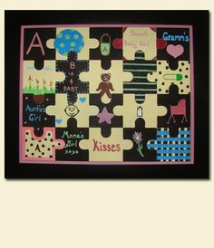Baby shower keepsake! Guests decorate a puzzle piece and they are put together and framed for the nursery.