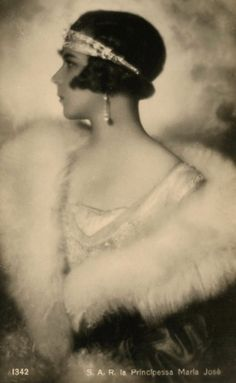 Marie José of Belgium (Marie José Charlotte Sophie Amélie Henriette Gabrielle; 4 August 1906 – 27 January 2001) was the last Queen of Italy. On 8 January 1930, she married in Rome Prince Umberto, at that time the Crown Prince of Italy from the House of Savoy, and so became The Princess of Piedmont (in Italian: Principessa di Piemonte).