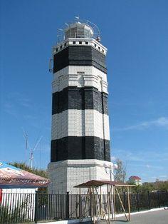 Lighthouses of Russia: Eastern Black Sea. Anapa Lighthouse. Black. White.