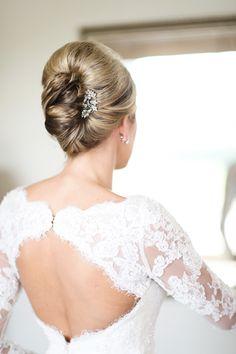 Elegant updo: http://www.stylemepretty.com/2014/12/10/elegant-summer-wedding-at-mendenhall-inn/   Photography: Tina Jay Photography - tinajayphotography.com/