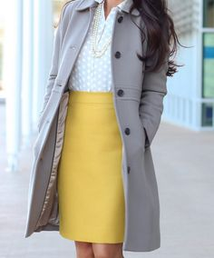 Mustard skirt gray coat