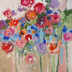 Original Abstract Painting Floral Art 24x24 Gifts door lindamonfort