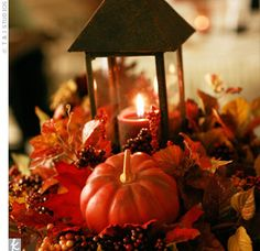 Fall pumpkin centerpiece.