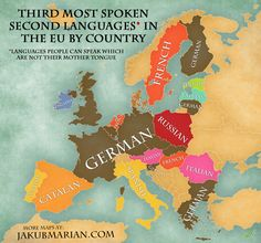 Map of the most spoken foreign languages in the EU by country