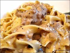 Crockpot Beef Stroganoff 1-2 lbs cube steak, cut into one-inch pieces 2 cans condensed golden mushroom soup (no substitutes!) 1 cup chopped onion 1 Tb Worcestershire 1 14 oz can beef broth, salt & pepper 4 oz cream cheese, room temp 1/2 c. sour cream In the crockpot, combine the meat, soup, onion, Worcestershire sauce, salt & pepper and beef broth. Cook on low for 5-6 hours 3. Stir in cream cheese and sour cream about half hour b/f serving. Serve over Egg Noodles