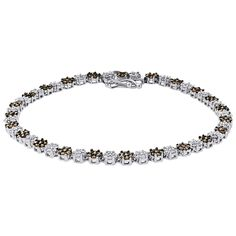 10K White Gold Round Cut Brown & White Diamond Ladies Flower Tennis Bracelet 2.36 Cttw. Ladies Gold Diamond Bracelet. Item in image is smaller than it appears. It is enlarged to show details. Picture on hand will give a very good idea of true size. Round Cut with Shared Prong Setting. 10K White Gold, I1 - I2 Clarity, H - I Color, Approximately 7.5 grams. Comes with Appraisal Certificate (insurance purpose) and Gift Box, 100% satisfaction guaranteed. 30 Day Returns…