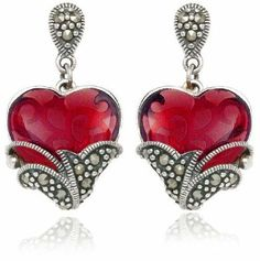 Sterling Silver Marcasite and Garnet Colored Glass Heart Earrings Amazon Curated Collection, http://www.amazon.com/dp/B002KQ644S/ref=cm_sw_r_pi_dp_o2RXqb0YKZK6C
