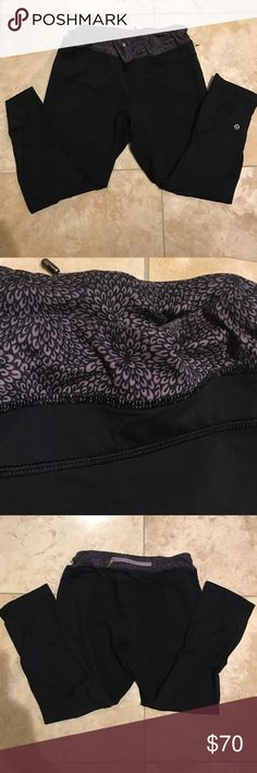 Lululemon inspire crop w/ RARE floral trim size 8 Lululemon inspire crop with RARE purple flower band. Inspire crops have been DISCONTINUED and are amazing for lifting, spinning or anything in between. Price is FIRM 💕 lululemon athletica Pants Leggings
