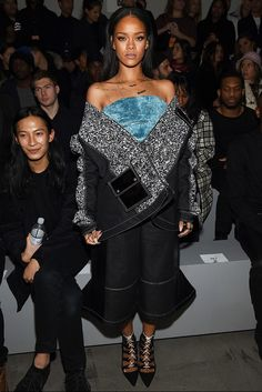 Rihanna wearing Julia Seemann coat, top, and pants at the Adidas Originals x Kanye West YEEZY presentation