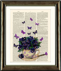 Pansy Teacup - Vintage Dictionary Page, Antique Book Page Art Print, Upcycled Book Page Art, Wall Art, Poster Book Page Art, Old Book Pages, Butterfly Wall Art, Antique Books, Pansies, Teacup, Vintage Prints, Unique Art, Art Pieces