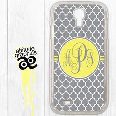 Samsung Galaxy S4 case, monogram, personalized, yellow and gray (No. 538) Galaxy S4 case $16