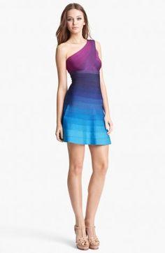 Cheap Herve Leger Blue Purple One Shoulder A-Line Bandage Dress