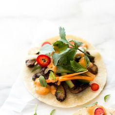 Shiitake Bánh Mì Tacos with Smoky Sriracha Cashew Aioli Recipe Main Dishes with medium carrot, daikon, persian cucumber, water, apple cider…