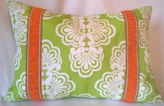 """Lilly Pulitzer Lee Jofa Shell We Tini Green 100% Linen! Custom Pillow Cover with Lilly Trim! Throw Pillow, Decorative Pillow 13""""x19"""" by yorkshiredesigns on Etsy"""
