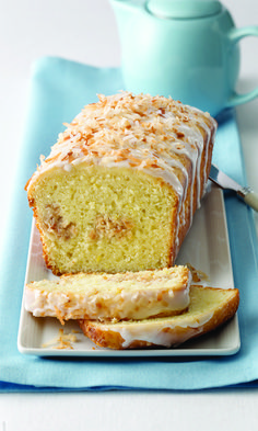 A ribbon of cream cheese and coconut is a nice surprise in this sunny citrus bread.