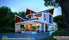 Sharp sloping roof 3 bedroom 2233 square feet contemporary house plan by Sreejith Pattazhy from Kollam, Kerala House Roof Design, Bungalow House Design, Facade Design, Modern House Design, House Plans Mansion, Craftsman House Plans, Contemporary House Plans, Rustic Contemporary, Model House Plan