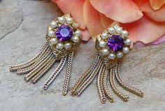 Vintage Violet Flower Floral Earrings  Purple by WillowBloom