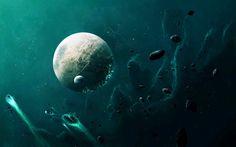 Download wallpapers planet, asteroids, nebula, galaxy, stars