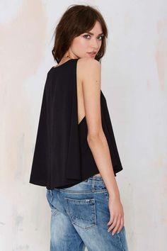 Felicity Cape Top - Black - Shirts + Blouses