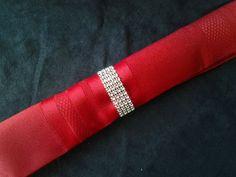 Wedding Napkin Rings Silver Bling Rhinestone by TheDeevaShop