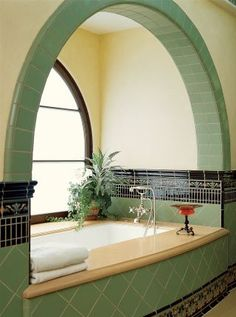 Green Art Deco style bath/ by Jarrett Hedborg and Donald Goldstein L. … Green Art Deco style bath/ by Jarrett Hedborg and Donald Goldstein L. Interior Architecture, Interior And Exterior, Stairs Architecture, Room Interior, Casa Art Deco, Art Deco Decor, Art Deco Style, Art Deco Art, Art Deco Room