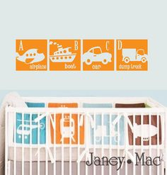 Airplane, Boat, Car and Truck Wall Decal Boys Bedroom Ideas Nursery Wall