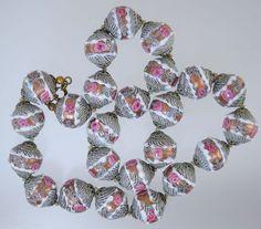 Vintage VENETIAN WEDDING CAKE BEAD NECKLACE GLASS PINK ROSES AVENTURINE & SWIRL!
