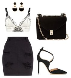 """""""black and white"""" by silwor ❤ liked on Polyvore featuring Loveday London, Warehouse, Gianvito Rossi and Valentino"""