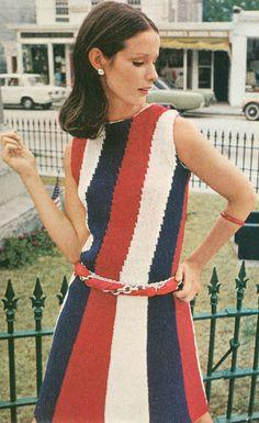 Vintage 1960s Red White Blue Parade of Stripes Dress Knitting Pattern PDF 6907. $3.74, via Etsy.