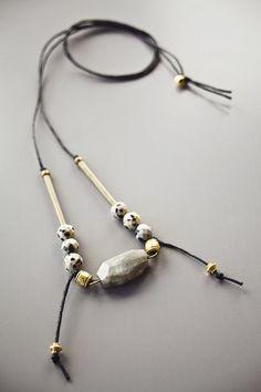 Boho Necklace / Brass Gold  Black Grey Necklace / by BlueBirdLab