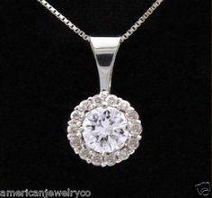 Diamond Necklace Pendant Halo Style .55 Carat Solid 14K White Gold w/ Box Chain