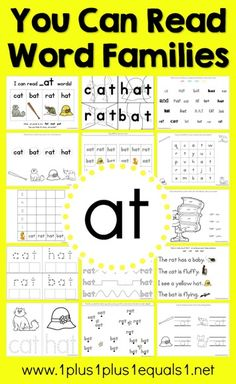 You Can Read Word Families ~ _at Word Family Printables
