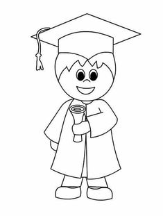 Kindergarten graduation coloring pages book Graduation Clip Art, Graduation Crafts, Pre K Graduation, Graduation Theme, Kindergarten Graduation, Kindergarten Activities, Preschool Activities, Orla Infantil, Animal Coloring Pages