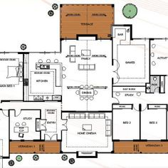 Floor Plan Friday: Farmhouse style rural house design with a modern twist Rural House, Home Cinemas, Farmhouse Style, Floor Plans, Friday, House Design, Flooring, How To Plan, Modern