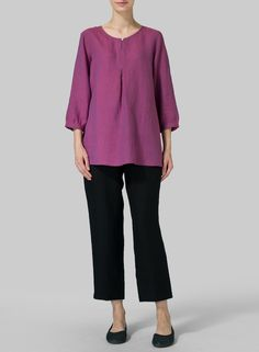 Linen Half Sleeve Inverted Front Pleat Blouse Style meets Comfort. Breeze through your day in this lovely relaxed fit silhouette for a flattering look.