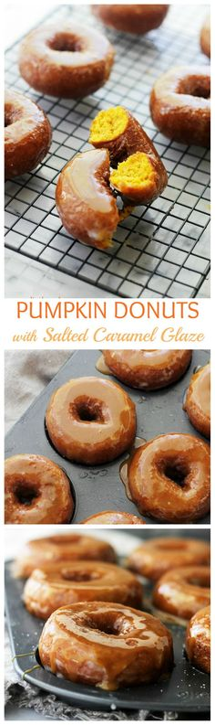 Baked Pumpkin Donuts dipped in Salted Caramel Sauce. This is your new favorite pumpkin recipe! #NationalDoughnutsDay