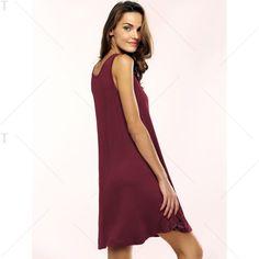 Casual Scoop Neck Sleeveless Flare Dress For Women   TwinkleDeals.com