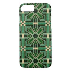Art deco floral tiles in emerald green pocket watch deco gifts art deco floral tiles in emerald green iphone 87 case floral solutioingenieria Choice Image