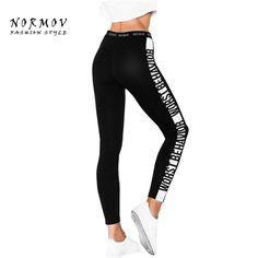 S-L Women's Leggings Fashion Breathable Letter Black Web Celebrity Ankle Length Bodybuilder Workout Fashion Leggings Women